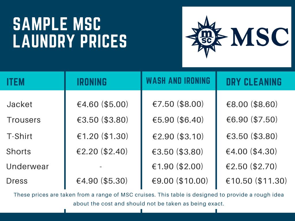 MSC Cruises Sample Laundry Prices