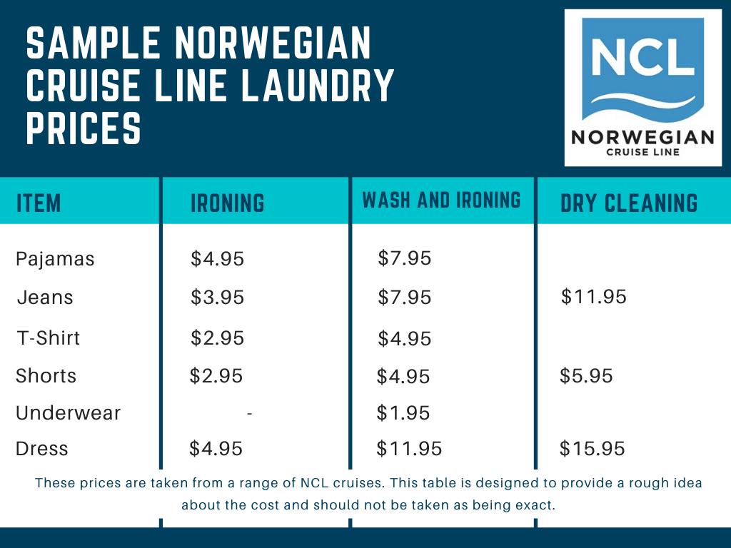 Sample Norwegian Cruise Line Laundry Prices