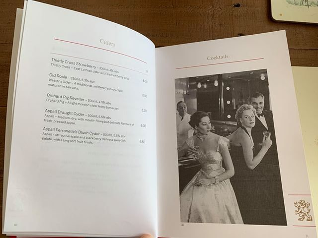 cunard drinks menu cider