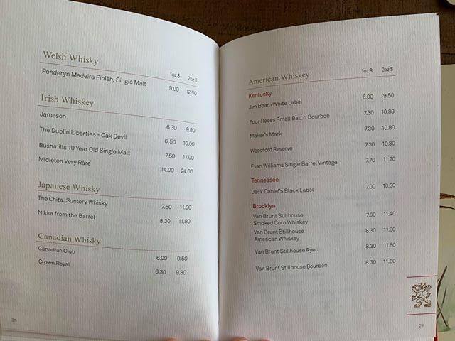 cunard drinks menu whiskey