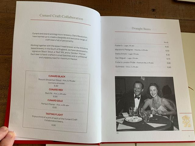 cunard drinks menu prices beer