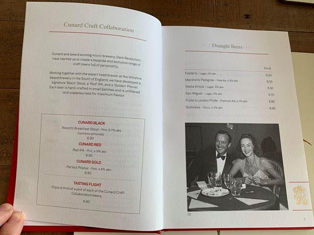 cunard drinks menu prices beer