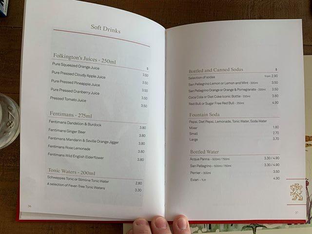 cunard drinks menu prices soft drinks soda juice