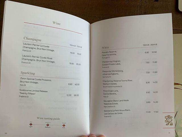 cunard drinks menu prices wine champagne