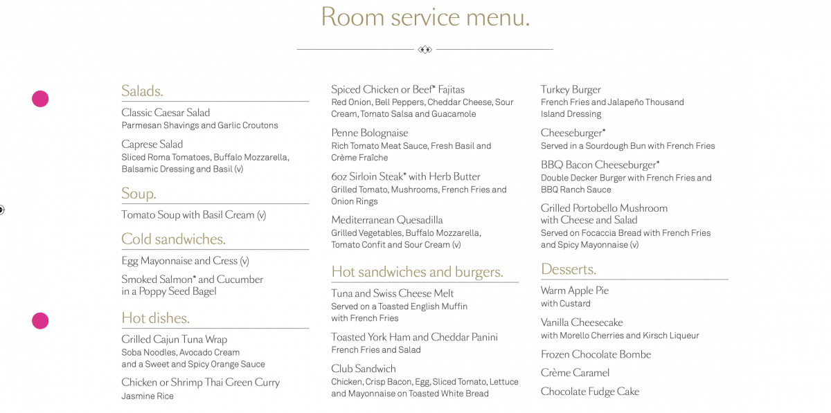 cunard room service menu free 24 hours