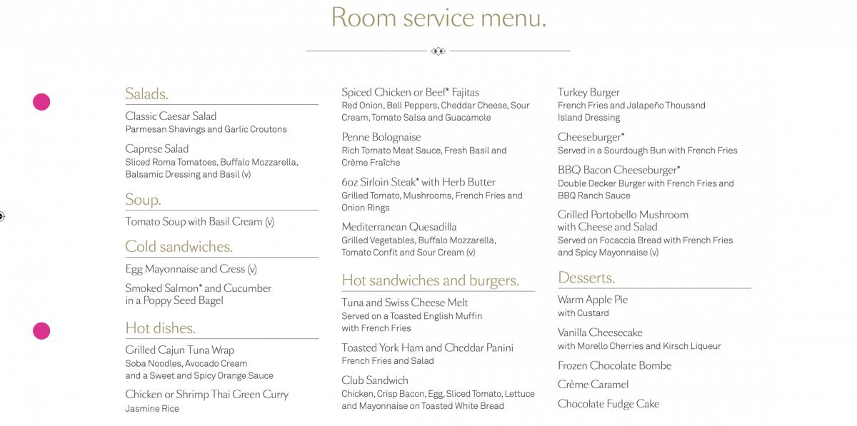 cunard room service menu free 24 hours