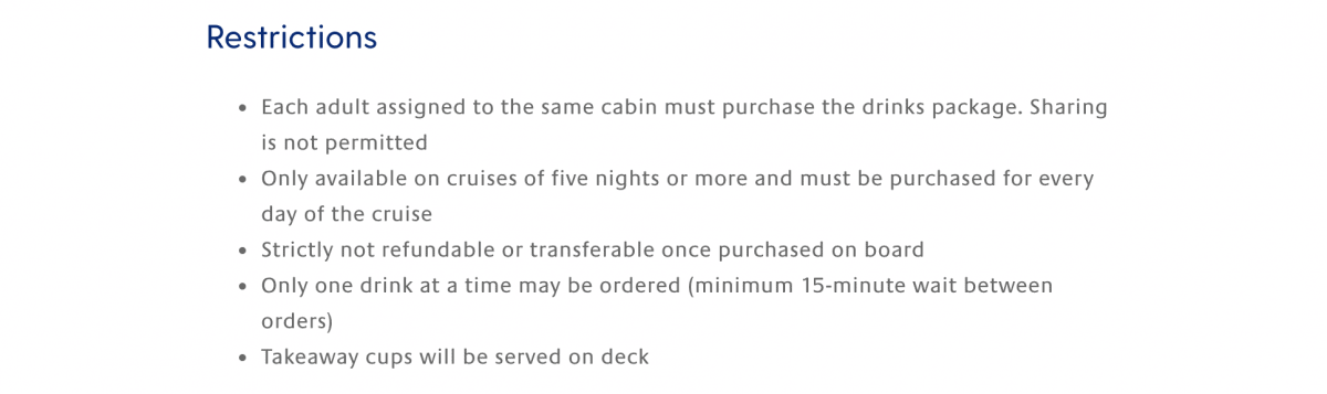 p&o short cruise drinks package limitations