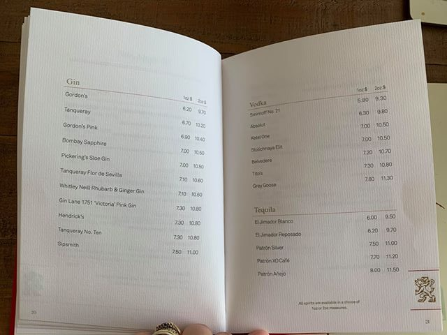 cunard cruise drinks menu gin vodka