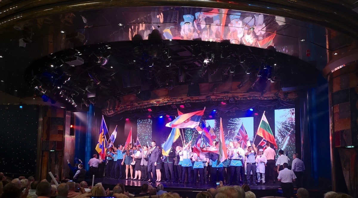Cruise onboard Marella Discovery in Theatre Waving Flags