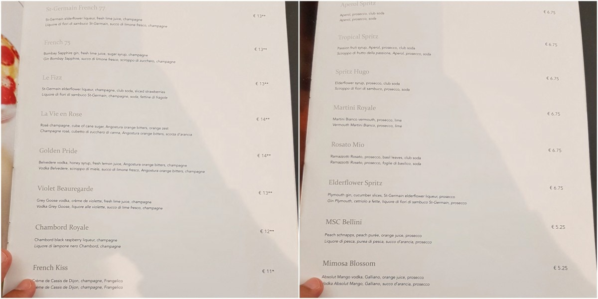MSC Champagne Bar Menu