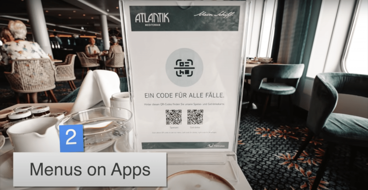 tui cruise menu on app qr code mein schiff 2