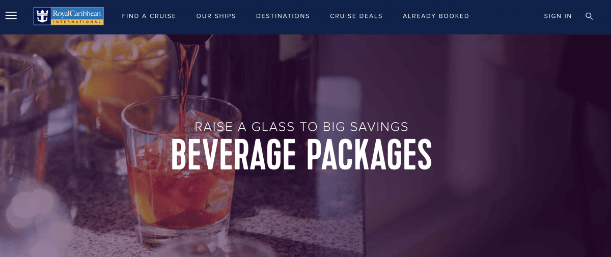 royal caribbean beverage package website