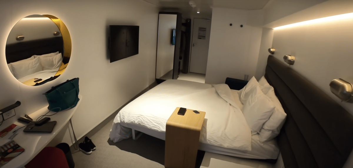 virgin voyages scarlet lady sea terrace cabin bed at night