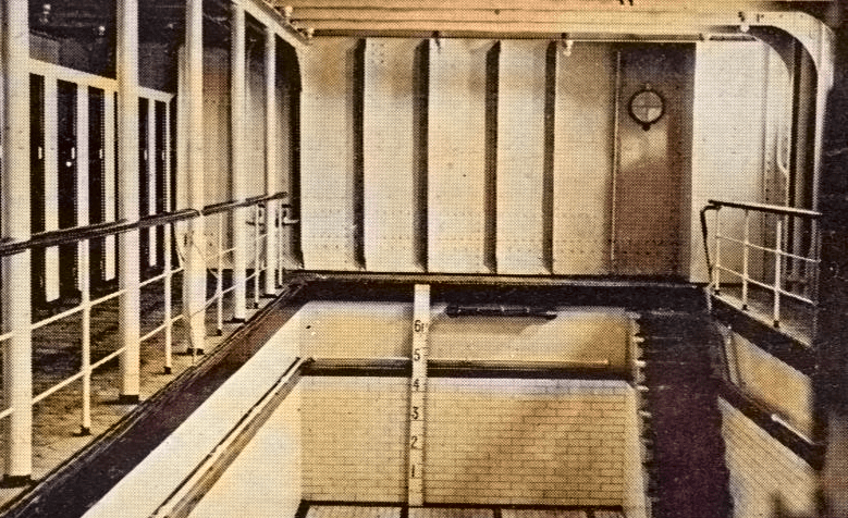 Titanic Swimming Pool Colourized Photo