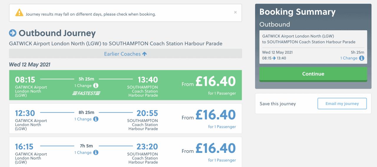bus gatwick to southampton national express