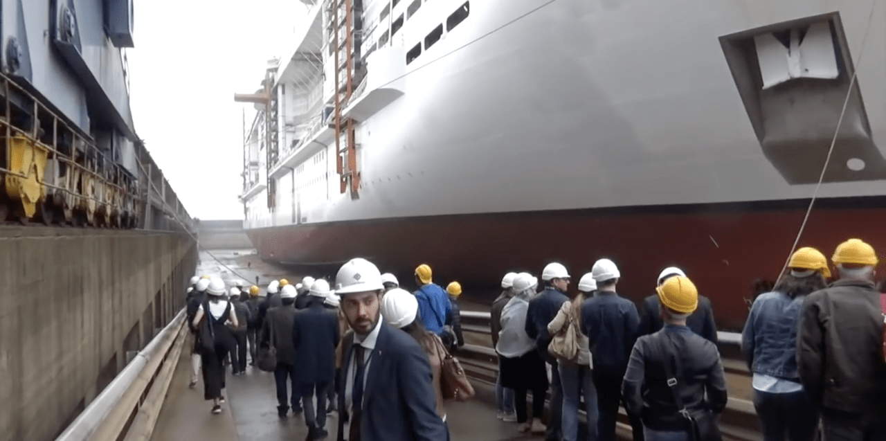 MSC bellissima under a cruise ship displacement hull