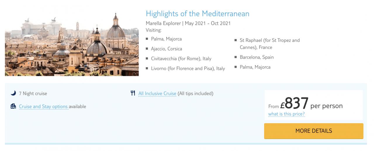 marella Mediterranean cruise