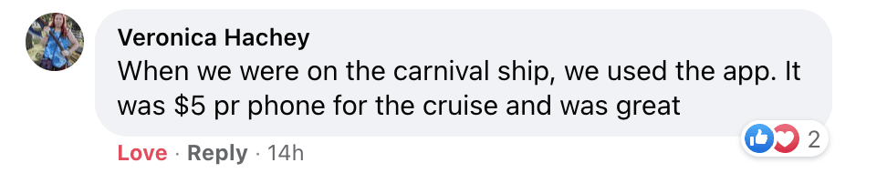 Using messenger apps on cruises