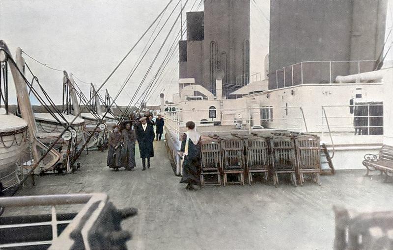 titanic deck colourized