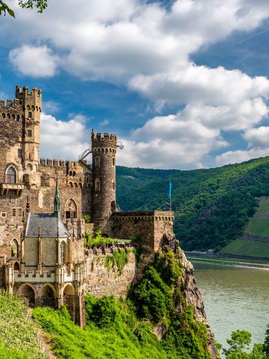 Rheinstein Castle at Rhine Valley (Rhine Gorge) in Germany