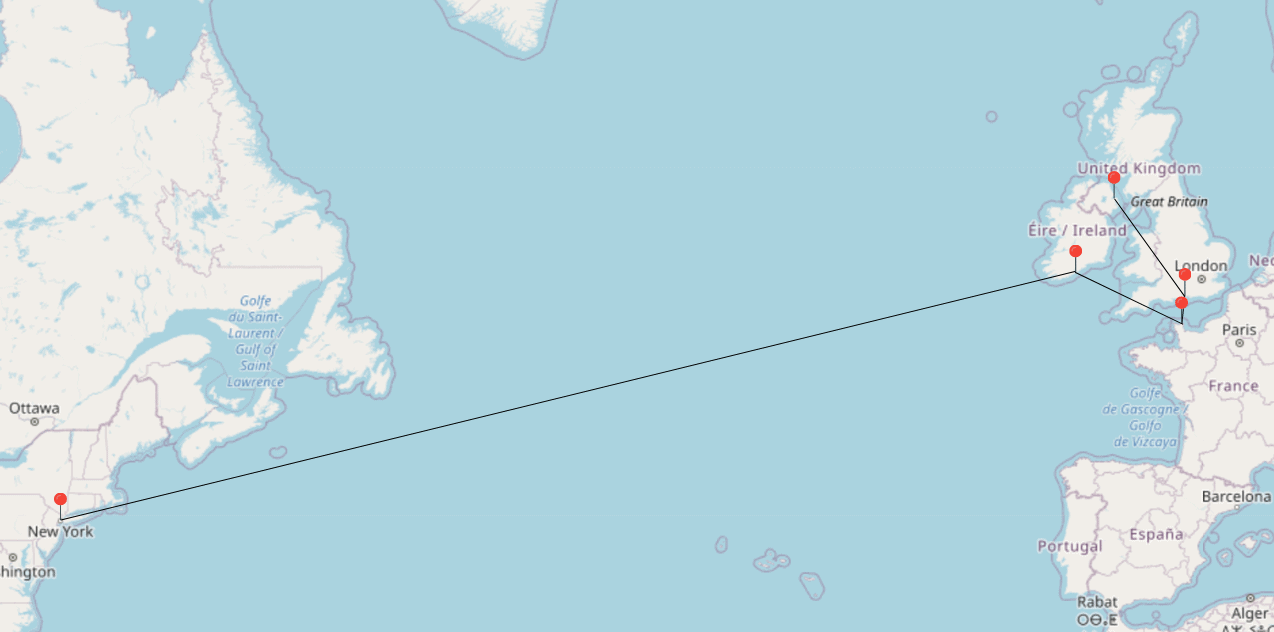 Titanic Route Belfast, Southampton, Cherbourg, Queenstown and New York Map