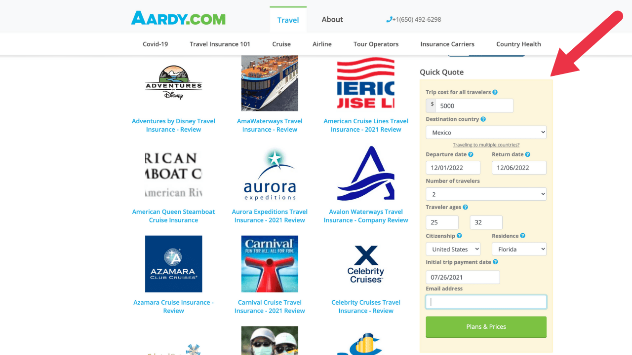 aardy travel insurance policy