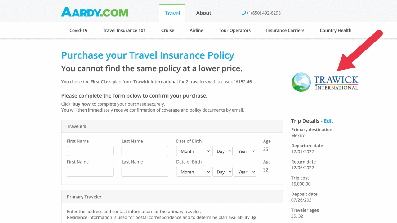 aardy travel insurance for a cruise