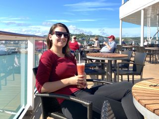 emma cruises enjoying a strawberry daiquiri onboard the celebrity silhouette