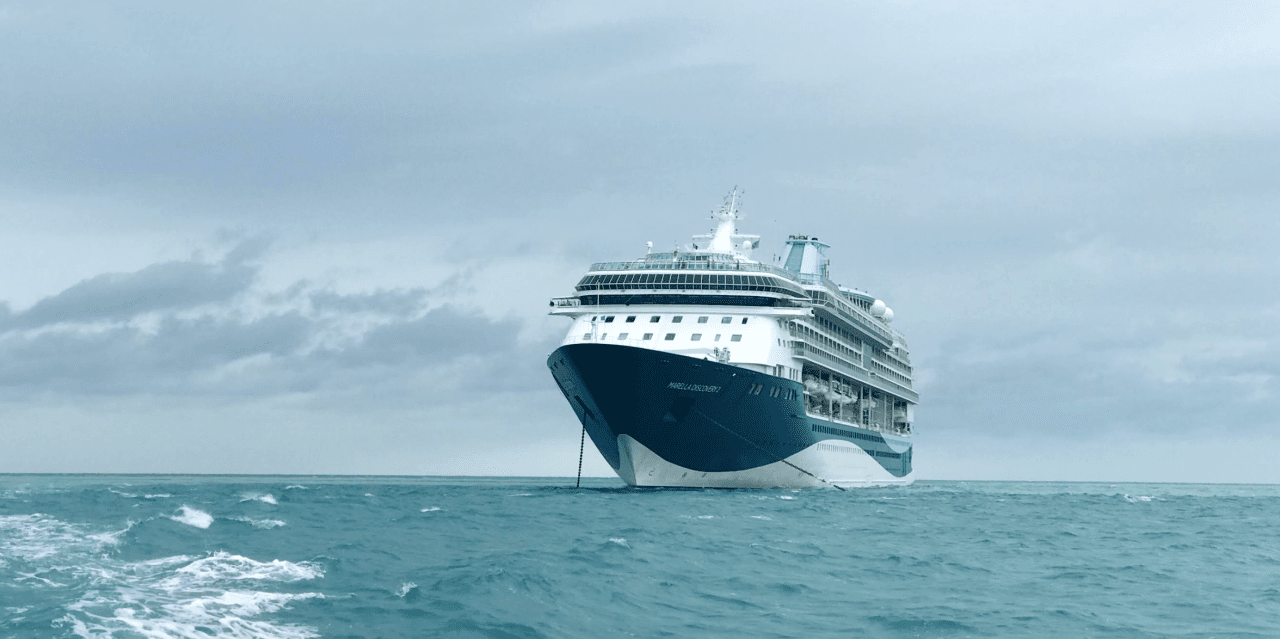 cruise ship using two anchors