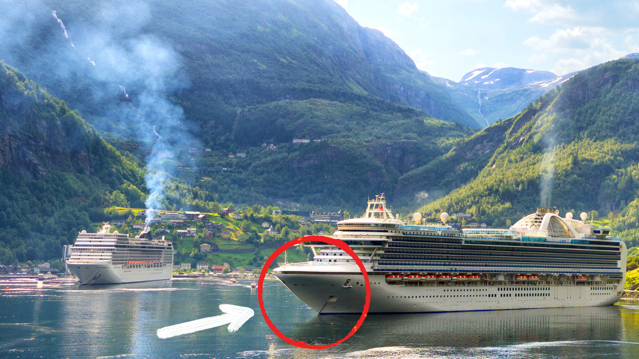 cruise ship anchors anchored in fjord