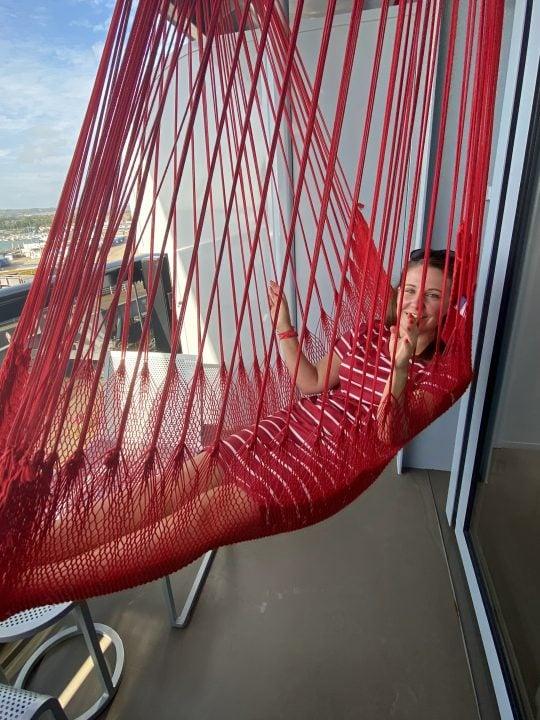 virgin voyages scarlet lady hammock on the balcony