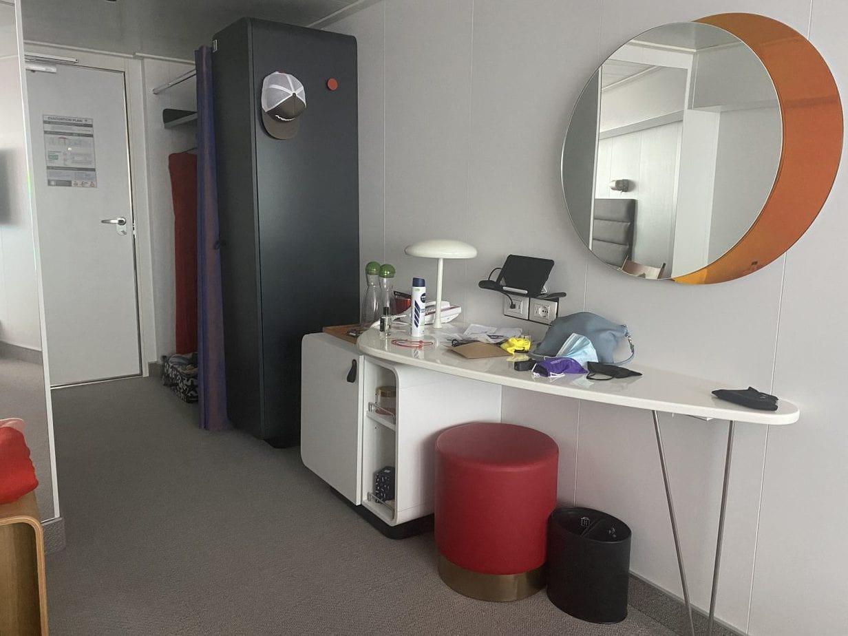 virgin voyages scarlet lady cabin desk mirror and closet