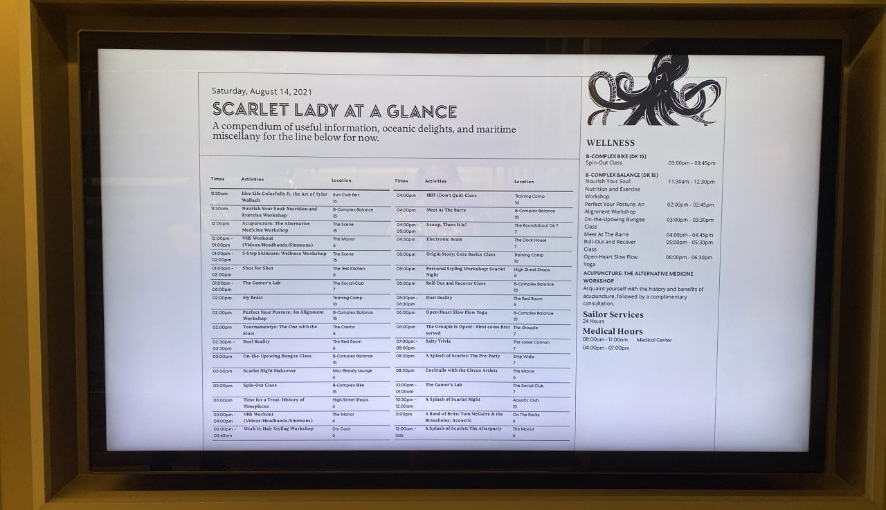 scarlet lady daily schedule