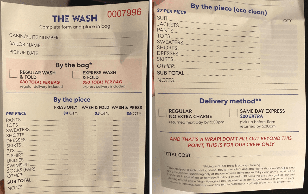 virgin voyages laundry cost