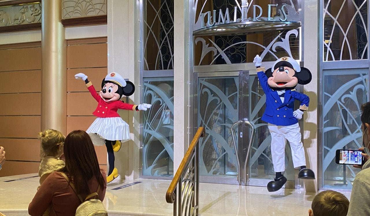 mickey and minnie on a disney cruise welcome dance