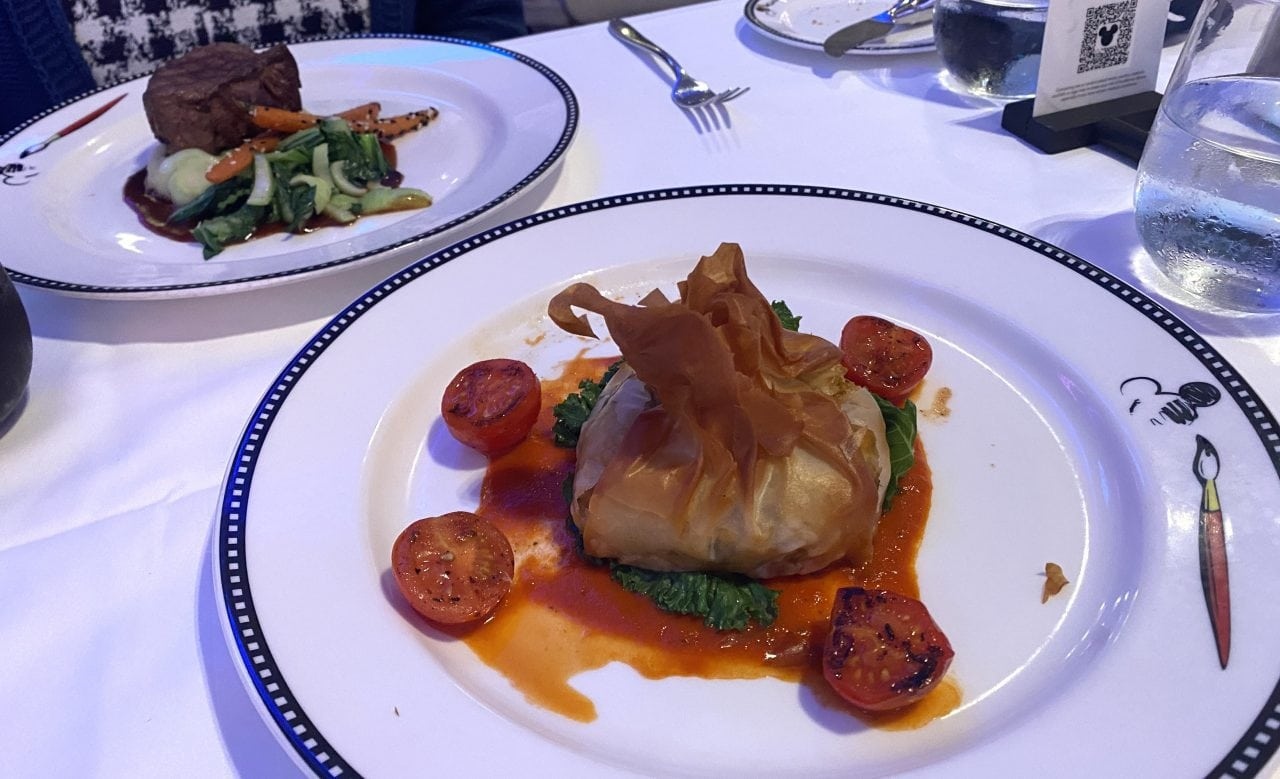 disney cruise animators palate dinner halloumi parcels food steak